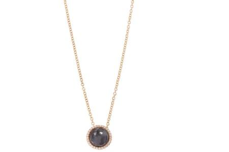 Tirisi Jewelry 18 krt roségouden hanger met 0.08 crt diamant en hematiet doublet incl. collier hematiet