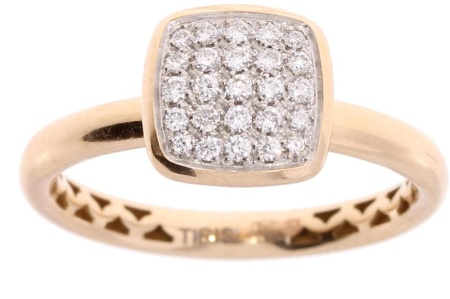 Tirisi Jewelry 18 krt roségouden ring met 0.22 crt diamant maat 53