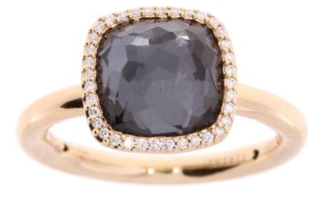 Tirisi Jewelry 18 krt roségouden ring met 0.10 crt diamant en hematiet doublet Hematiet/mt. 55