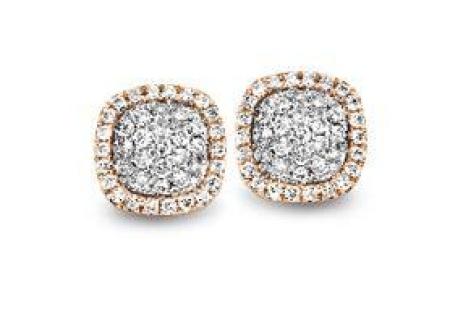 Tirisi  Jewelry 18 krt roségouden oorknoppen met 0.44 crt diamant TE9235D(2P)