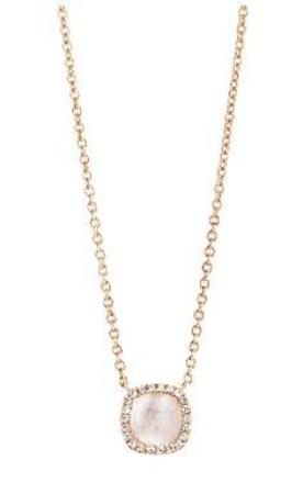 Tirisi Jewelry 18 krt roségouden hanger met 0.09 crt diamant en witte kwarts doublet incl. collier Qua.wh/Shc