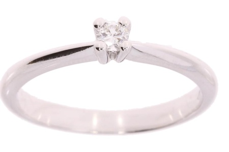 Verlinden Diamond Collections Witgouden ring met 0.10 crt diamant maat 17.75*