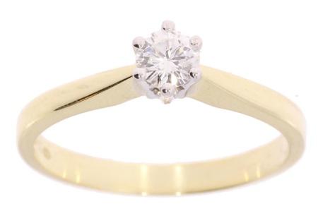 Verlinden Diamond Collections Bicolor gouden damesring met 0.22 crt diamant maat 17.5*