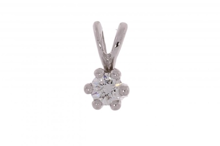 R-C  Diamond Jewerly Witgouden R&C solitair hanger met 0.10crt diamant mod.Aumone/cert.YE0743